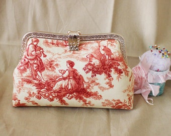 20cm Kiss lock purse, fabric canvas Purses & handbag, Cosmetic bag, clutch bag, Metal frame purse  K1718