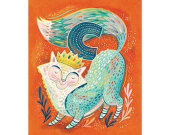 C is for Cat with a Crown: Alphabet wall art for nursery