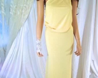 Designs By Loure' Beautiful Yellow Maxi Skirt Set, One Shoulder Bridesmaid Dress, Bridesmaid Skirt & Top, One Shoulder Maxi Skirt And Top
