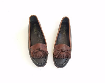 Vintage Womens 7 Dexter Slip On Loafers Tassel Fringe Double Kiltie Loafer Loafers Boat Deck Shoes Brown and Black Leather Shoes Two Tone