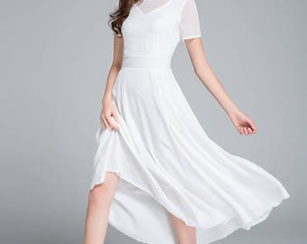 white dress, wedding dress, bridesmaid dress, party dress, chiffon dress, prom dress, summer dress, prom dress, romantic dress 1770