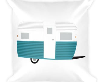 Vintage Camper Holiday Gift | Holiday gift for campers | RV Holiday Gift Glamping Holiday gift Happy camper gift Square Pillow