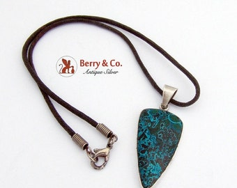 SaLe! sALe! Oblong Azurmalachite Pendant Necklace Sterling Silver