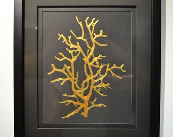 """Gold Coral Painting 8.5"""" x 11"""" on Italian Acid Free Paper Hand-Painted with 24k Gold Acrylic Paint V1 by Ana Monsanto"""