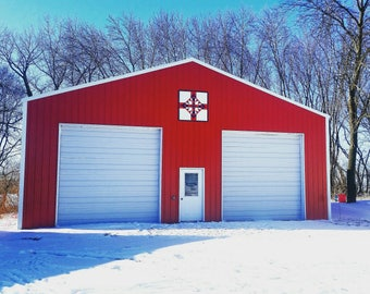 Barn quilt,3x3 barn quilt,4x4 barn quilt Old Rugged Cross pattern done in red, white, and blue