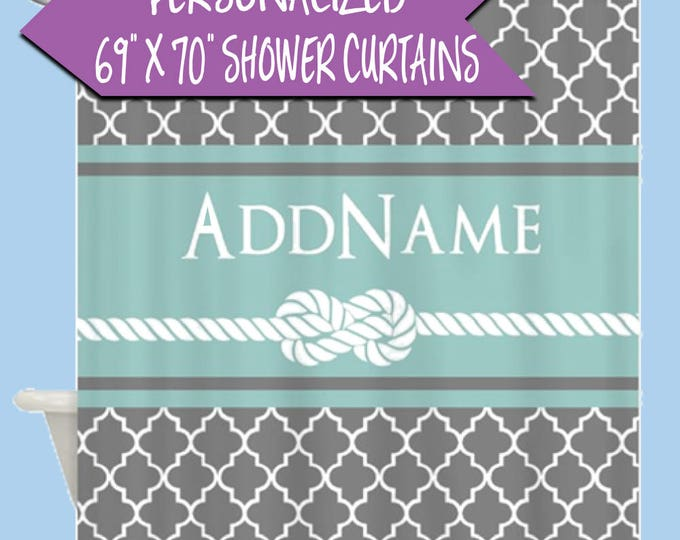 Personalized Name Shower Curtain | Custom Shower Curtain | Gray and Mint Quatrefoil Rope Personalized Shower Curtain | Personalized Bath