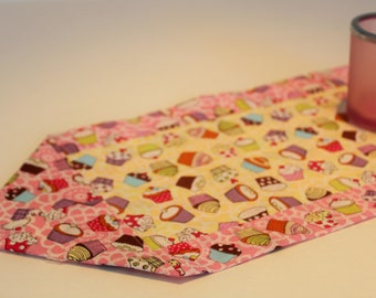 Yellow and Pink Mini Cupcake Table Runner or Candle Mat