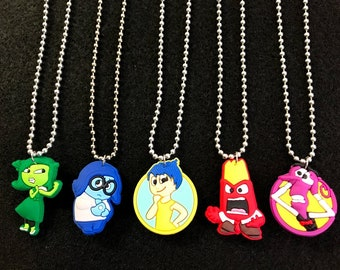 10 Pcs Silver Necklace Inside Out, Silicone Charms, Round Chain, Party Favors.