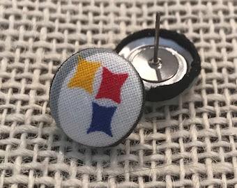 Pittsburg Steelers button earrings!