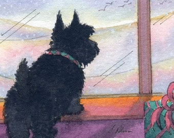 Scottish Terrier dog 8x10 print Aberdeen terrier Scottie waiting for snow always hopeful from watercolor painting by Susan Alison