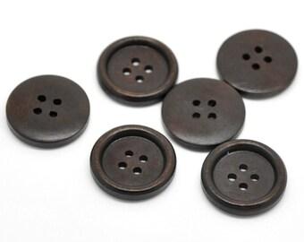 Bouton de bois café foncé de 2.5cm - ensemble de 6 boutons en bois naturel