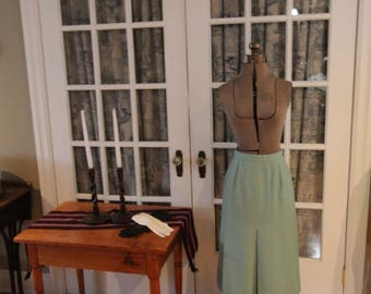 1960's Teal Skirt with Box Pleat