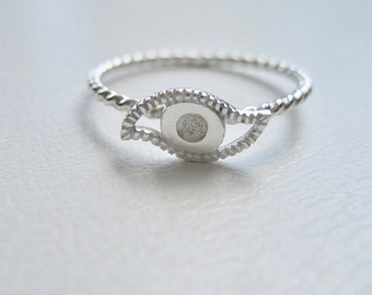Sterling Silver Eye Ring Delicate and Dainty Ring, Eye Jewelry, Evil Eye Ring, Unique Stackable Eye Ring, Midi Ring, BFF Ring, BFF Jewelry