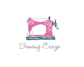 Vintage sewing machine logo, dressmaker, quilting, hobby, craft, clothing, fashion, dewing logo.