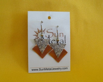 Girl power copper and silver earrings (Style #483S)