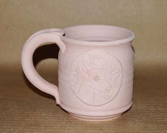 Glazed To Order Dairy Goat Medallion Mug 16 oz Barrel Shape