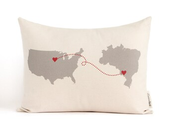 Personalized Map Pillow, Country To Country, Graduation Gift, Personalized Pillows, Anniversary Gift, Gift for Him, Throw Pillow, Dorm Decor