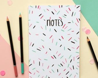 Sprinkles Notebook - A5 Notebook - Lined Notebook - Patterned Notebook - Back to School - Cute Stationery - Cake Notebook