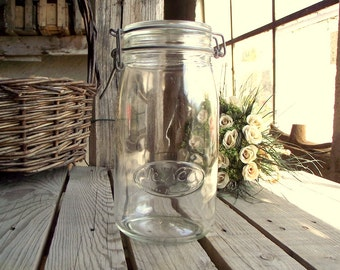 Glass Pasta Canister - Vintage Canning Jar - Kitchen Container - Food Container - French Kitchen - 1.5 Liter - French Kitchen