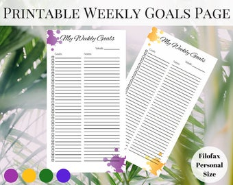 Weekly Planner Page Printable, Filofax Personal Inserts, Printable Weekly Planner, Printable Planner Pages, Printable Inserts