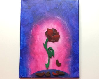 Beauty and the Beast Rose Inspired Melted Crayon Art Painting
