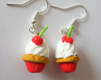 Cherry cupcake on the buckle cake gourmet original earrings