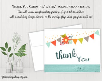 Thank You Cards, Thank You Notes, Folded Thank You Cards, Birthday Thank You Card, digital, printable, TY607