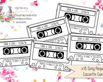 x18 Personalised Song Request Cards