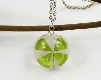 Four leaf clover necklace, Pressed flower jewelry, St patricks day necklace, Terrarium Jewelry, Clover, Botanical Jewelry, Lucky charm