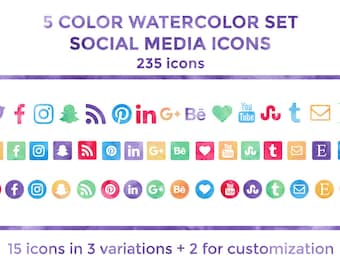 Watercolor Social Media Icons Buttons Website Icons Blog Icons Social Media Icons Graphics Twitter