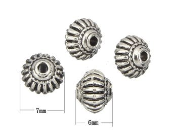 25pc 7x6mm antique silver finish metal beads-5859i
