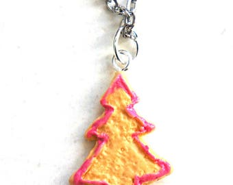 Christmas Tree Cookie Necklace-miniature food jewelry, holiday jewelry