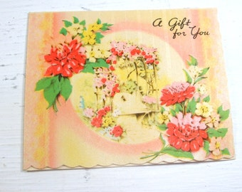 Small Gift Card, A Gift For You, Flowers, Envelope, 1940's  (404-14)