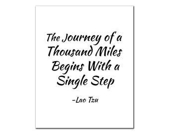 The Journey of a Thousand Miles, Printable Quote, Instant Download, Inspirational, Motivational, Minimalist Art, Home Wall Decor, Lao Tzu