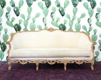 Vintage Hand Carved White Sofa