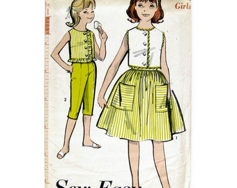 Vintage Sewing Pattern 1960s Girl's Separates Top, Skirt, Clam Diggers / Advance 2940 / Size 10 / Uncut FF
