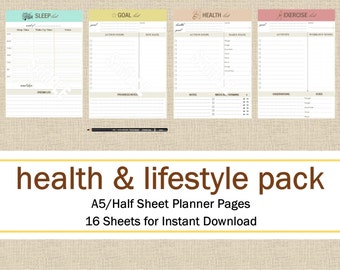 Health & Lifestyle Half Size/A5 Planner Pages, Meal Planning Printable Planner Pack: Day Planner, Exercise Planner, Instant Download