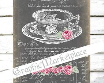 Chalkboard Tea Time Cup of Tea Iron on Fabric Instant Download Shabby Transfer Burlap digital collage sheet graphic printable No. 265