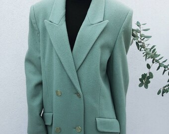 SALE Vintage Wool Aqua-Green Double-Breasted Coat, Winter Coat, Wool Coat, Long Coat, Women's Coat, Wool Jacket, Winter Jacket