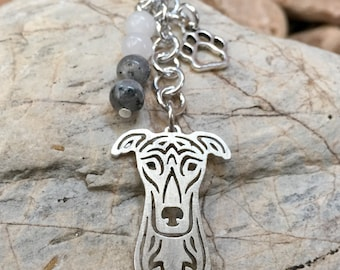 Greyhound / Whippet key chain/ bag charm