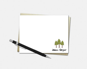Personalized Note Cards for Men - Pine Tree Notecards - Set of 10 Flat Note Cards - Gifts for Him - Custom Note Cards
