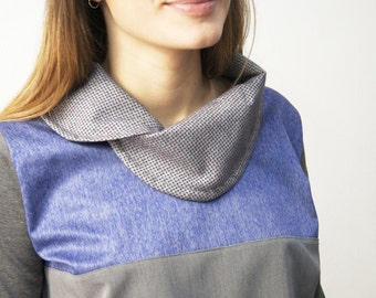 Women's top with elegant collar, collar blouse, womens grey top, blouses for women, casual blouse, casual top