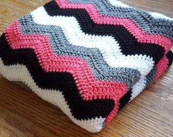 Crochet Chevron Afghan/Chevron Blanket/ Chevron Throw/Modern