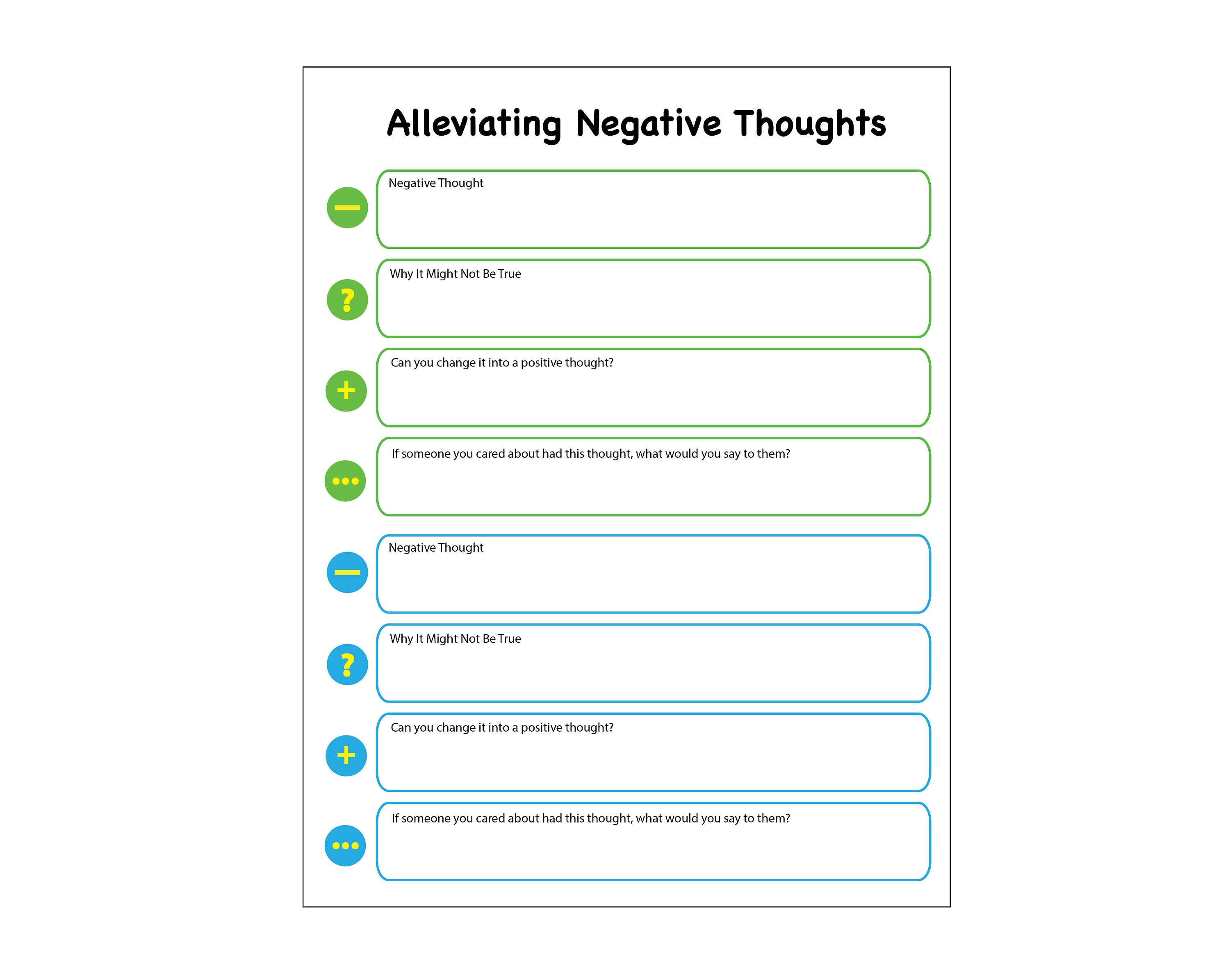 worksheet Anger Diary Worksheet negative to positive thoughts journal printable worksheet
