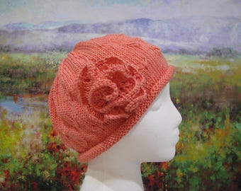 Women's Chemo Hat ' Mary', Cotton Knitted Hat, with knitted flower trim.