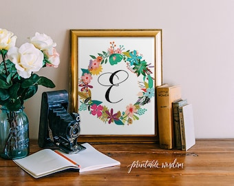 Monogram Art Nursery Letter Print Girl, Wall Decor, floral printable flower calligraphy monogram, Initial, custom digital Printable Wisdom