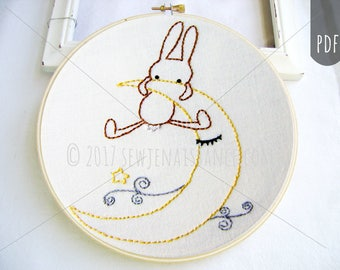 Embroidery PDF Pattern Goodnight Bunny Moon and Clouds