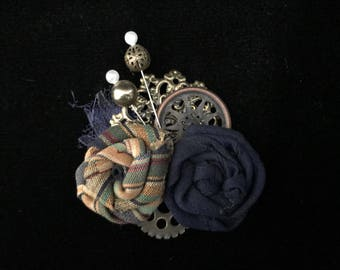 Navy Blue and Gold Steampunk Fascinator- Steampunk Wedding Fascinator- Steampunk Hair Clip- Steampunk Costume- Steampunk Hat- Steam Punk