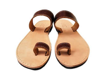 Toe Ring Sandals, Barefoot Brown Women Leather Sandals