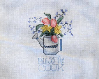 "Pretty ""Bless the Cook"" cross-stitch"